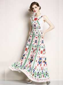 Floral Print Longline Tank Dress