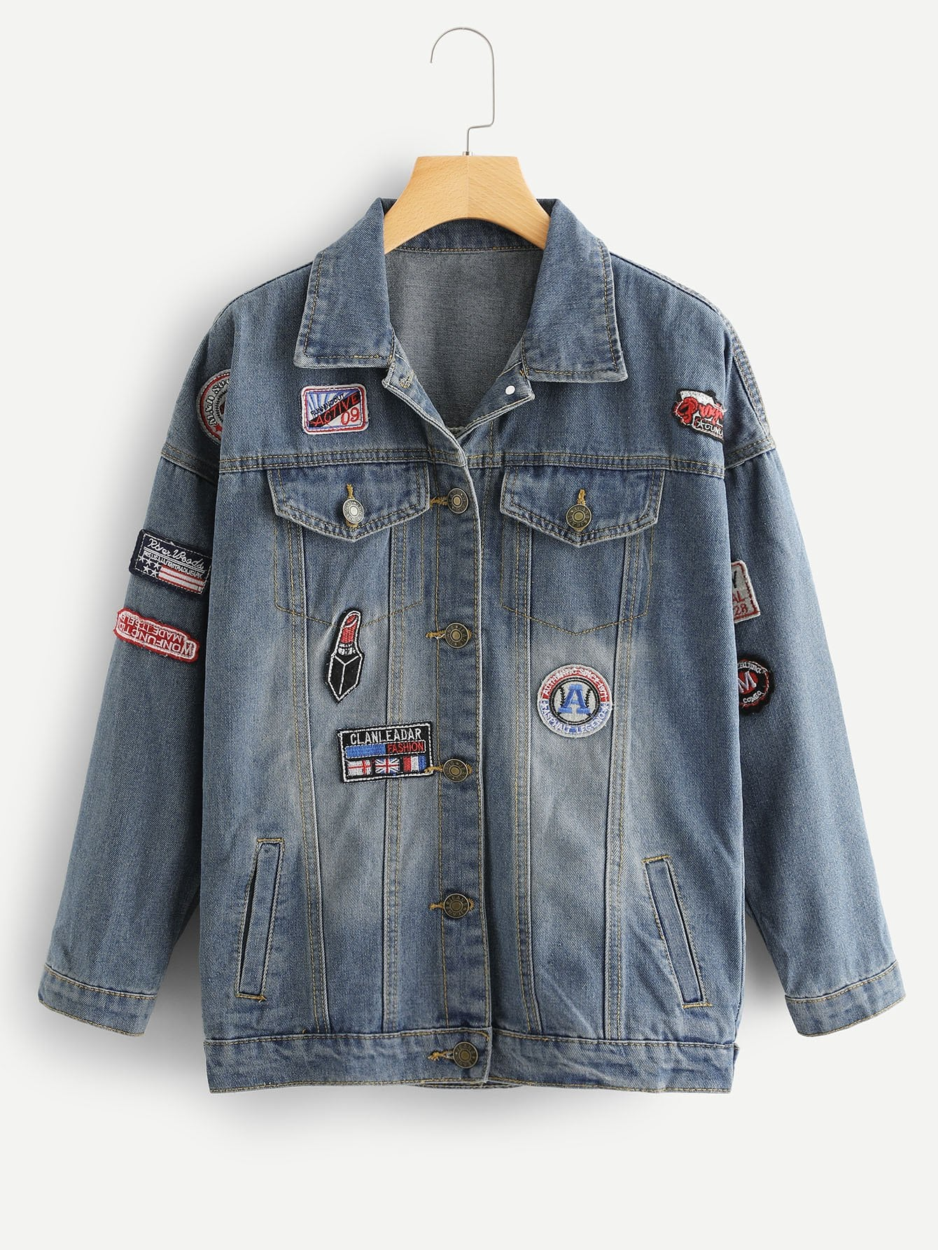 Faded Patched Denim Jacket men embroidery patched denim jacket