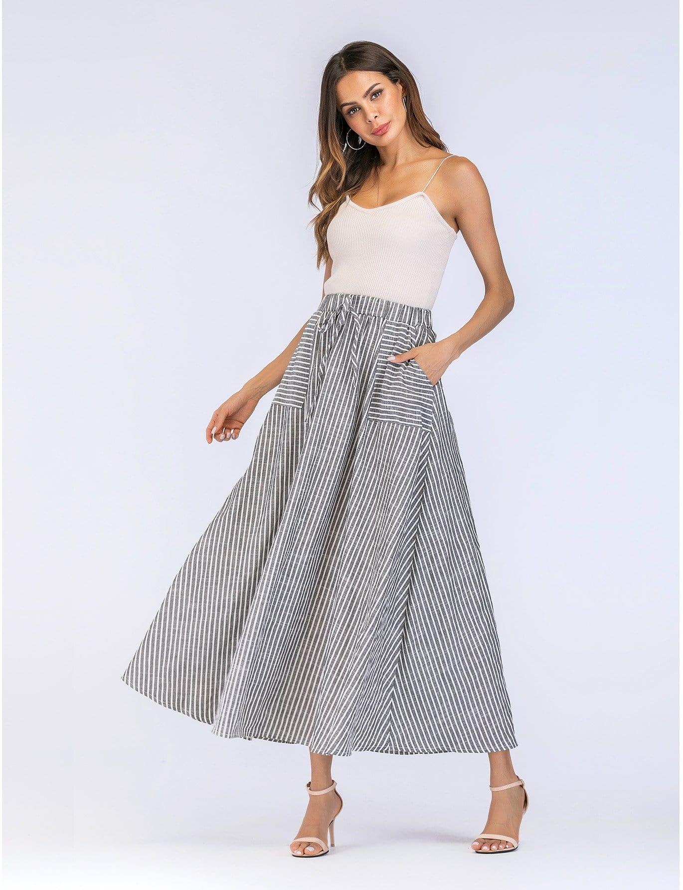 Drawstring Waist Stripe Skirt
