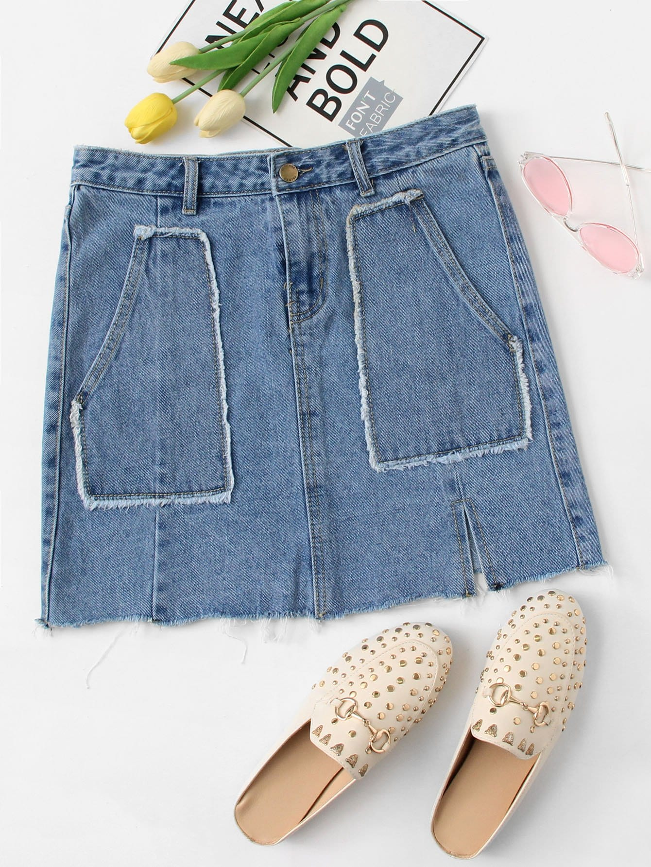 Dual Pocket Frayed Hem Denim Skirt ноутбук msi gp72m 7rdx 1238ru leopard 9s7 1799d3 1238 intel core i7 7700hq 2 8 ghz 16384mb 1000gb no odd nvidia geforce gtx 1050 4096mb wi fi bluetooth cam 17 3 1920x1080 windows 10 64 bit