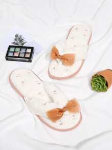 Lace Bow Decorated Flat Slippers