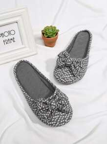 Round Toe Bow Design Flat Slippers