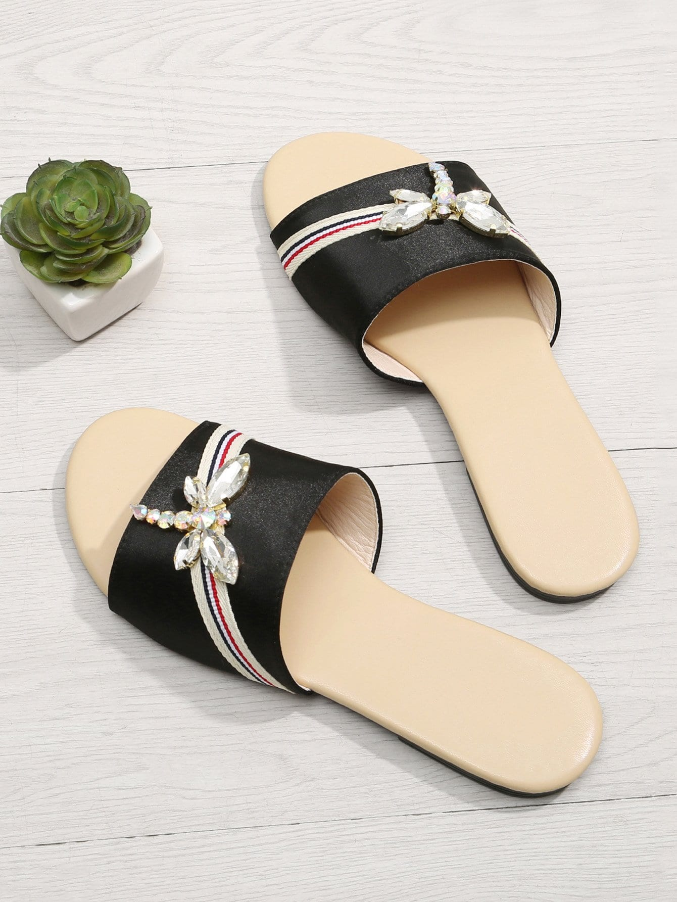 Rhinestone Dragonfly Satin Slippers