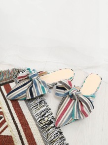 Bow Decorated Striped Flats