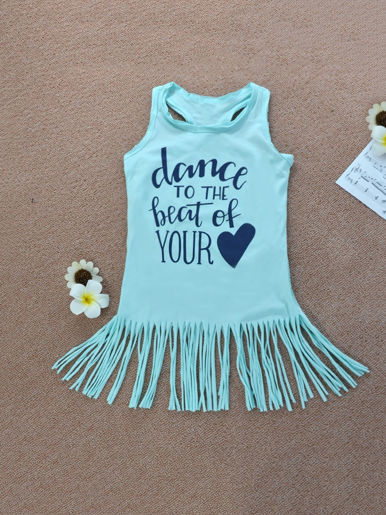 все цены на Girls Letter Print Fringe Vest Dress