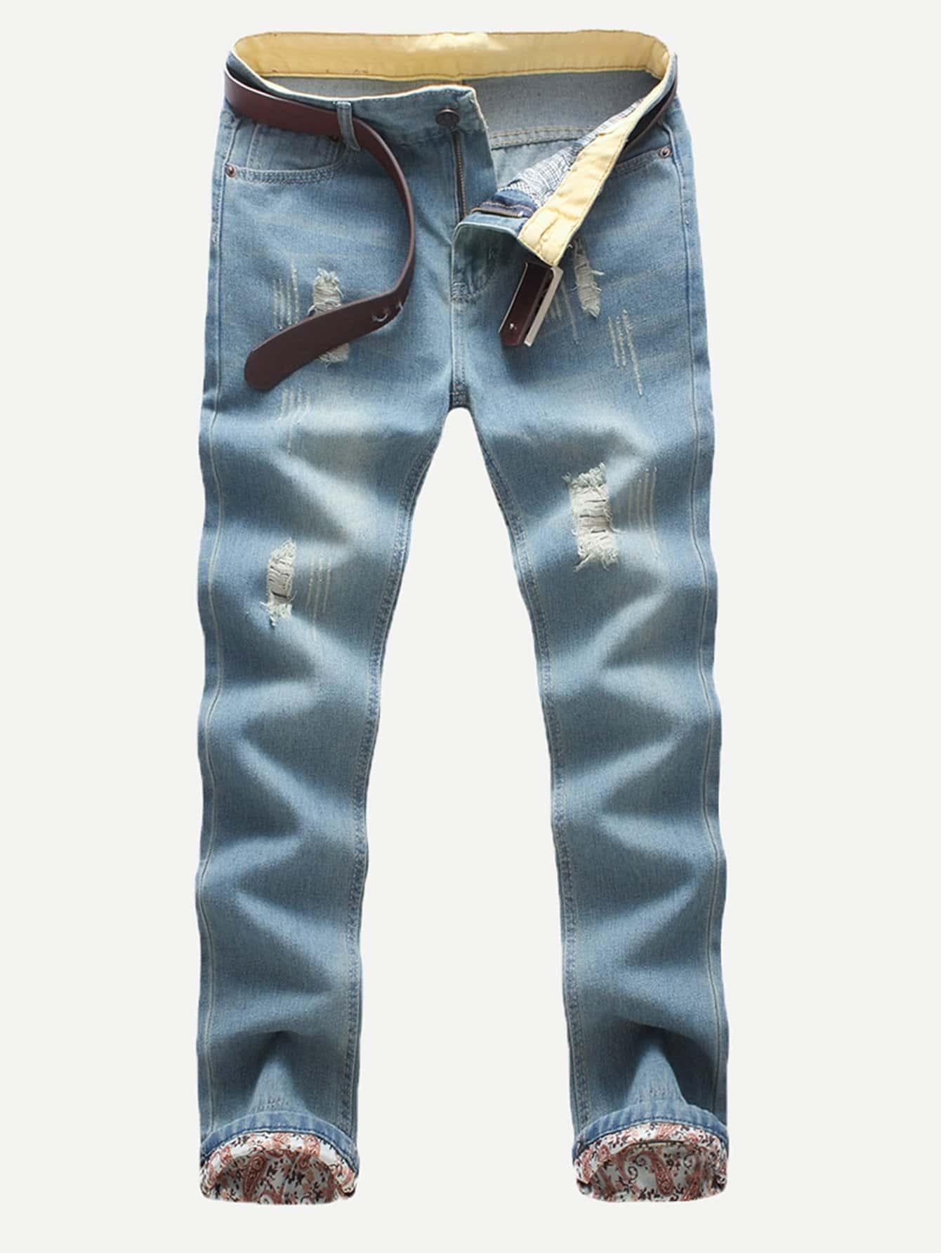 Men Rolled Hem Wash Jeans