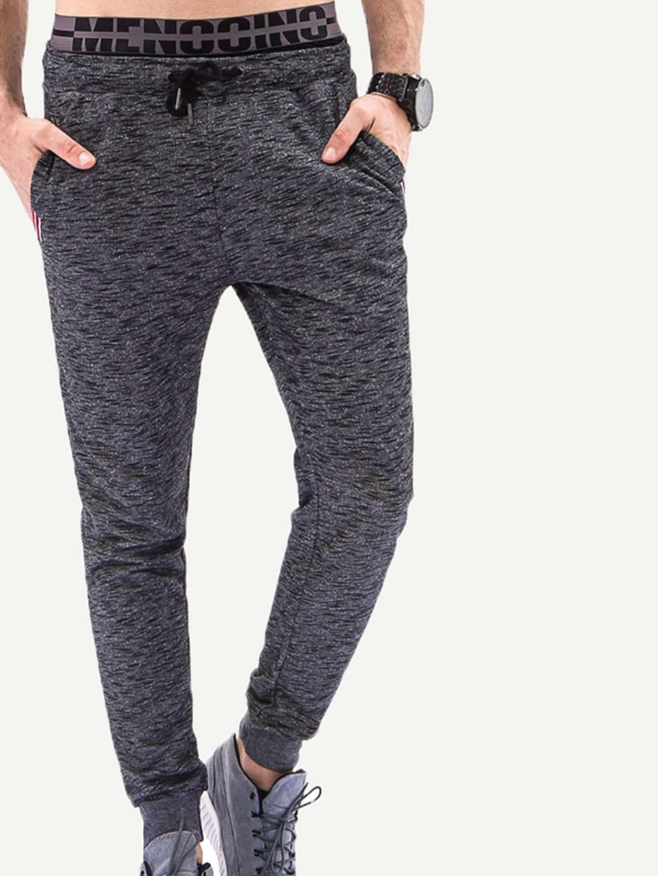 Men Space Dye Drawstring Pants цены онлайн