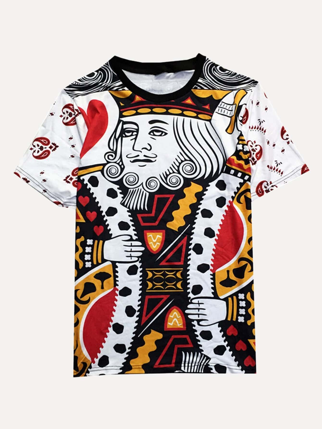 Men 3D Playing Cards K Graphic Tee 3d graphic lion