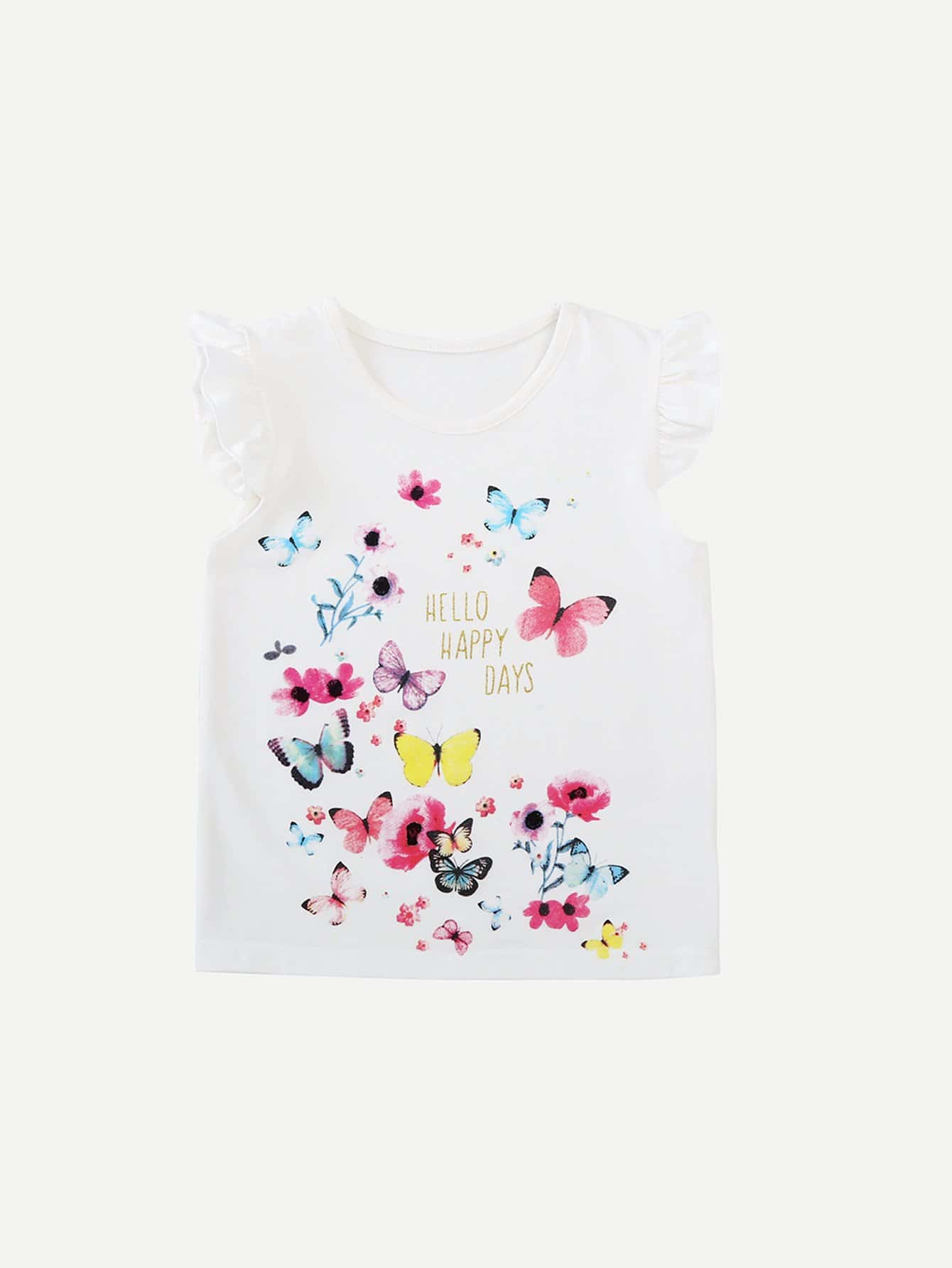 Girls Letter And Butterfly Print Tee