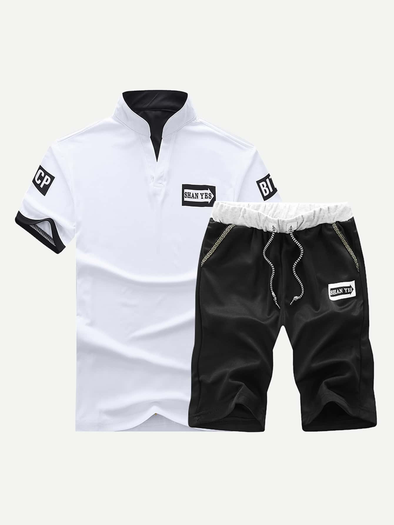 Men Letter Patched Polo Shirt With Drawstring Shorts power electronics