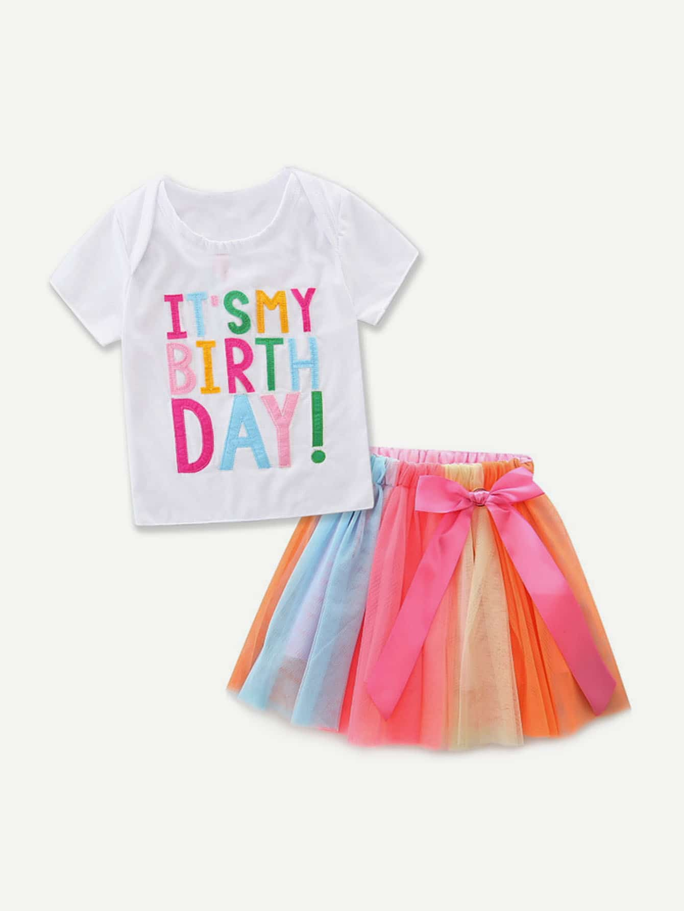 Kids Letter Print Tee With Colorful Skirts