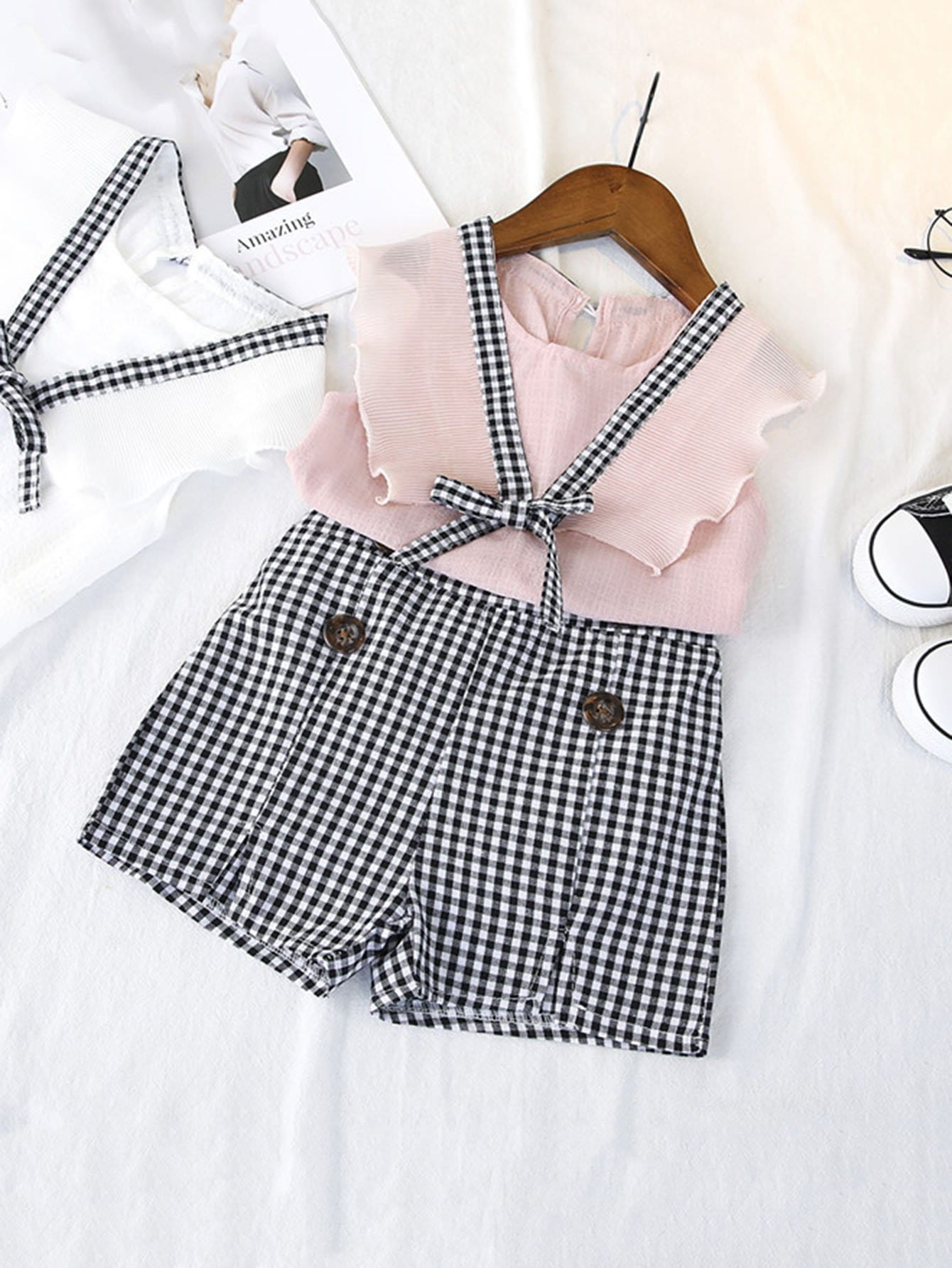 Kids Tie Detail Vest With Gingham Shorts obi tie outerwear with epaulet detail
