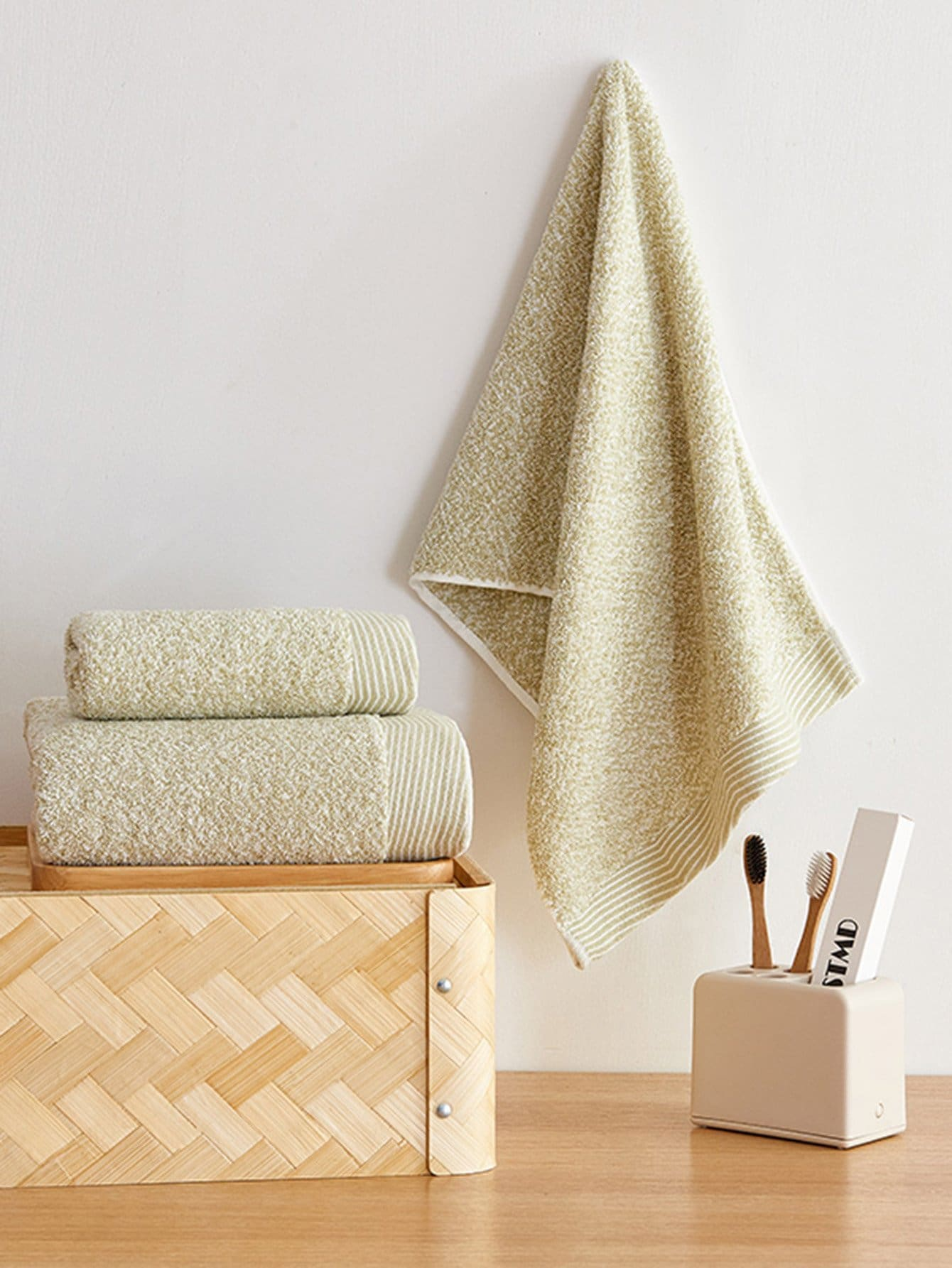 Simple Plain Bath Towel Set 3pcs plain headband 3pcs