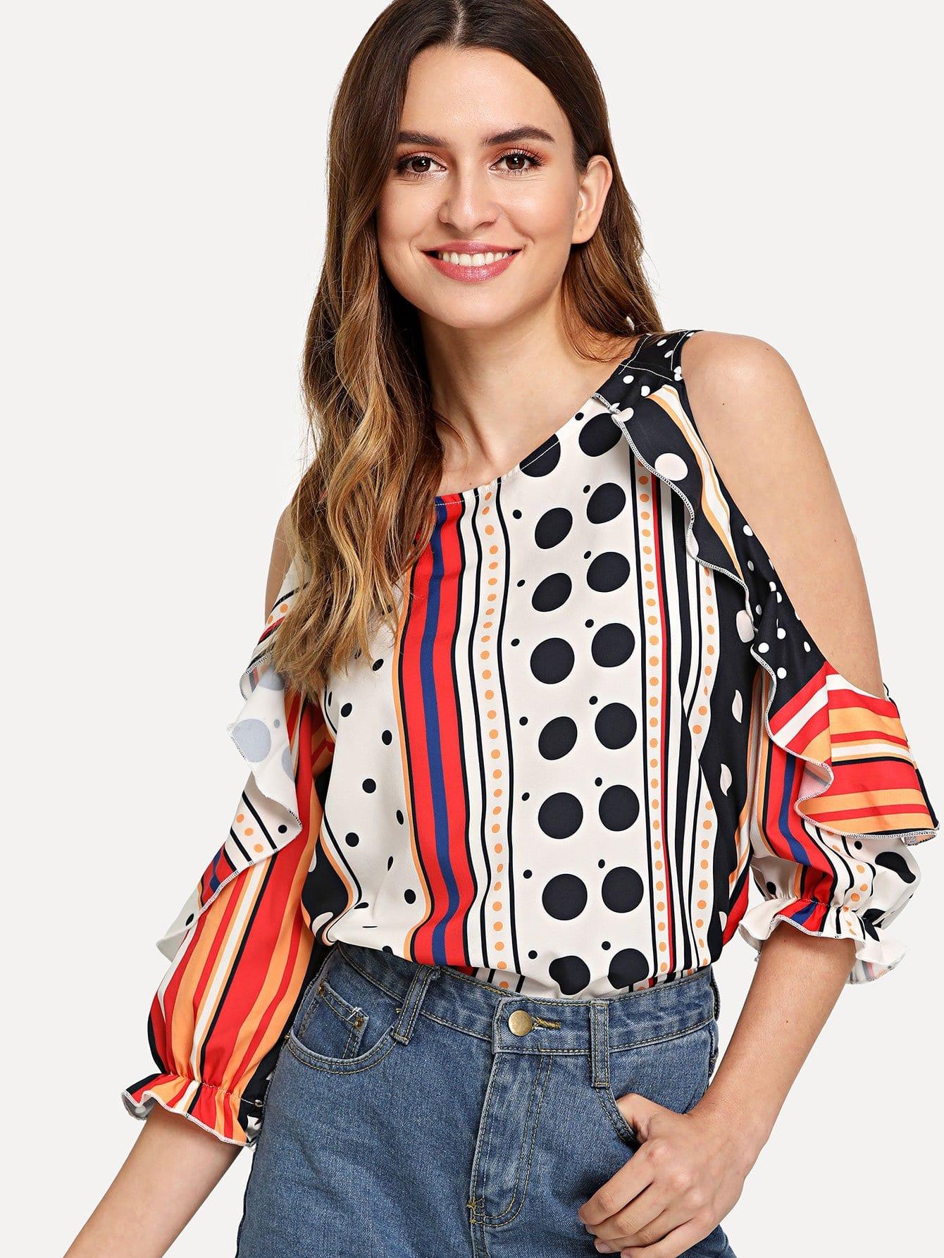 Купить Блузка с открытыми плечами в горошек с полосками, Jana, SheIn