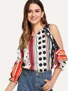 Contrast Striped Dot Print Open Shoulder Blouse