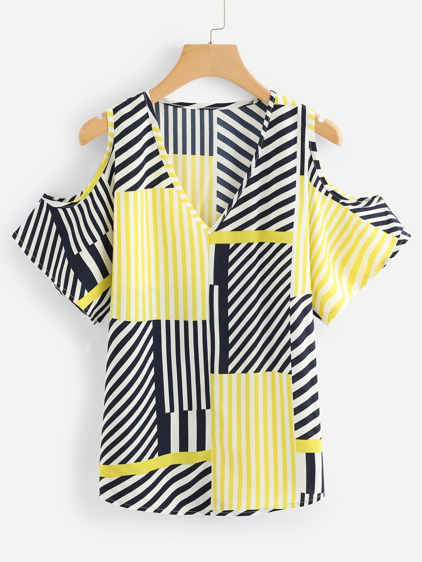 Купить Блузка с открытыми плечами и полосками, null, SheIn
