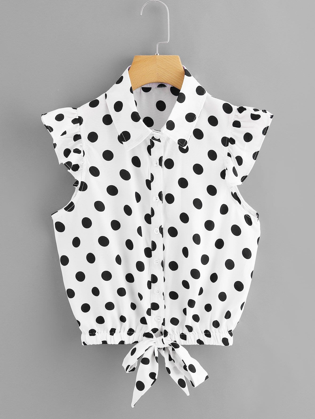 Knot Front Polka Dot Top knot back polka dot wrap top