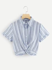 Twist Front Striped Shirt