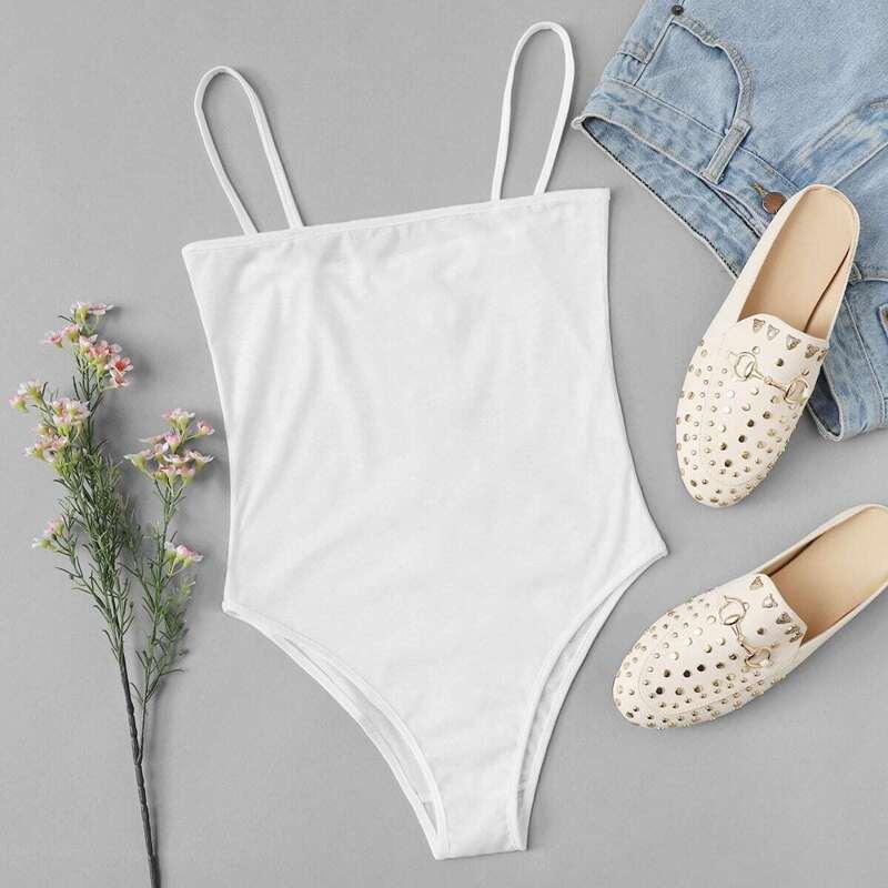 Skinny Cami Bodysuit, White