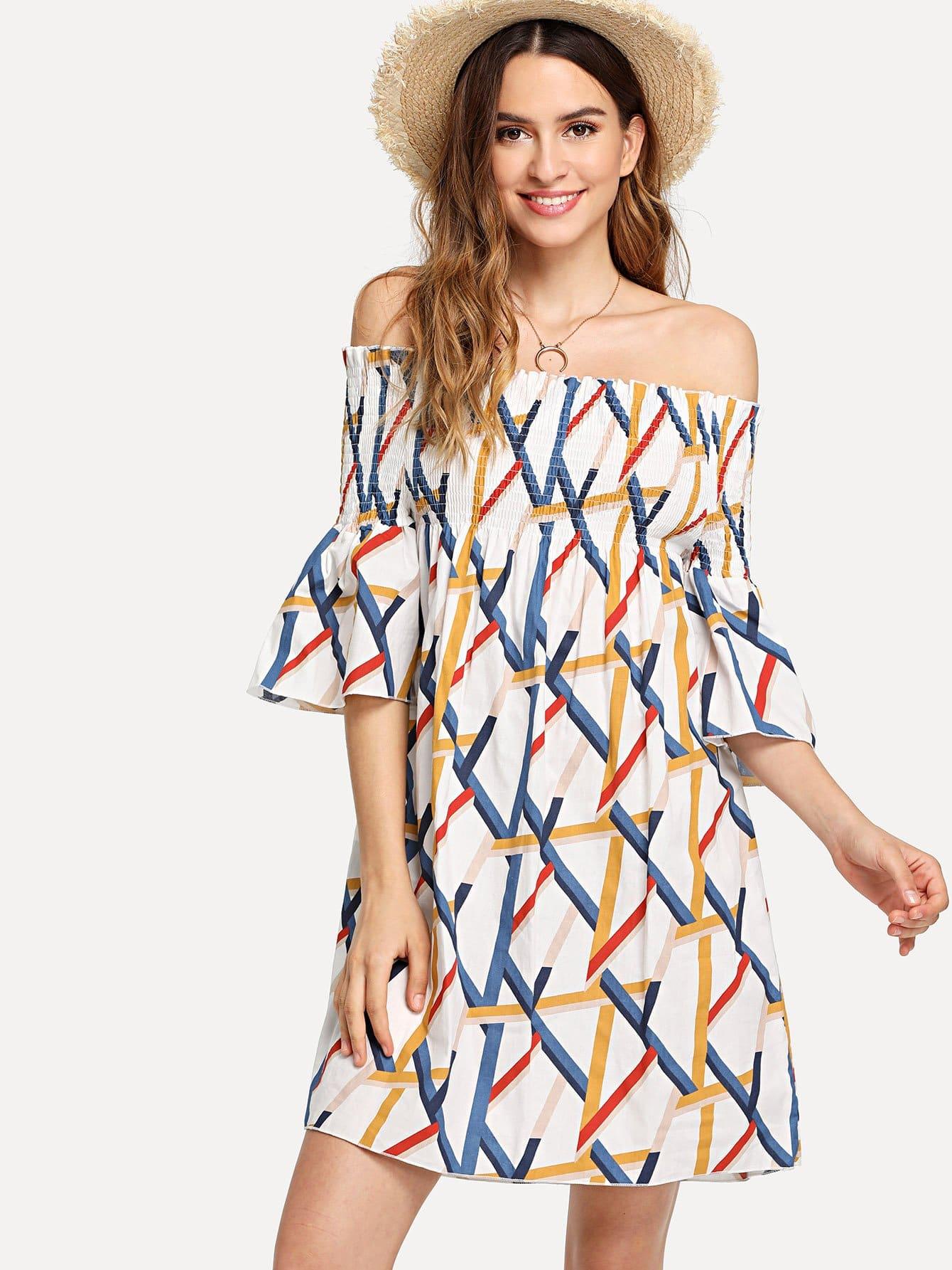 Купить Платье с принтом и открытыми плечами, Jana, SheIn
