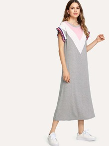 Chevron Colorblock Striped Lettuce Trim Dress