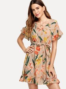 Floral Print Ruffle Hem Dress