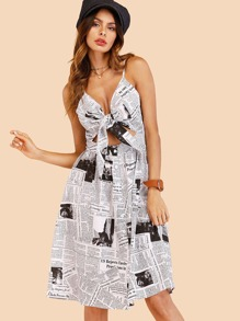 Knot Front Newspaper Print Cami Dress