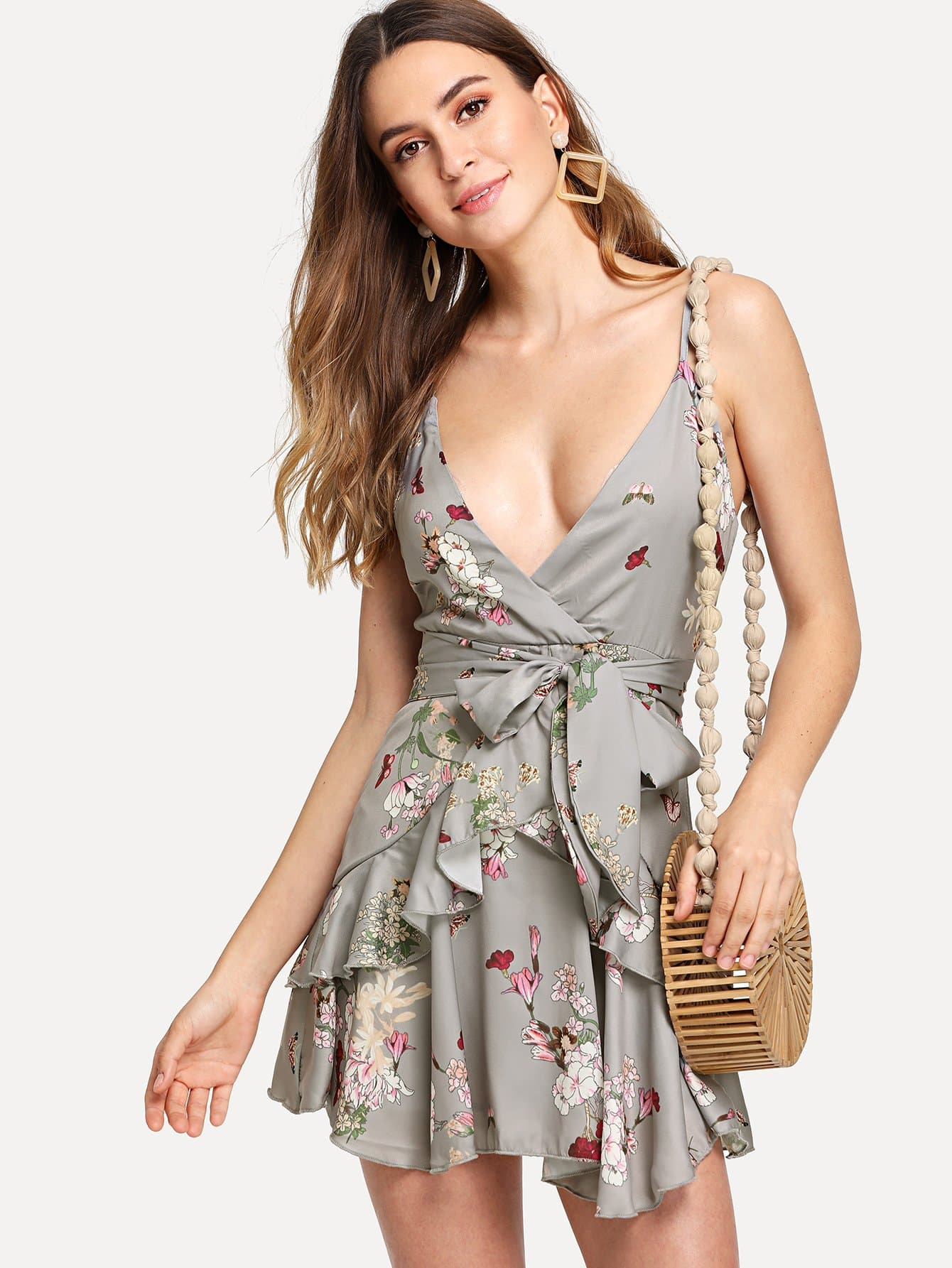 Tiered Ruffle Hem Tie Waist Floral Cami Dress leaves print backless tiered layer cami dress