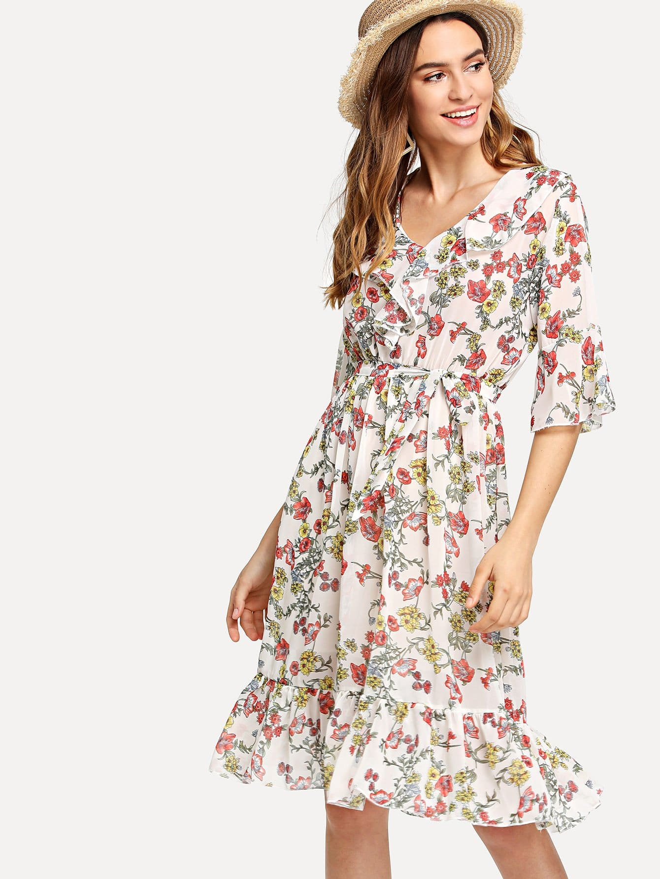 Self Tie Waist Ruffle Hem Florals Dress all over florals ruffle hem wrap dress
