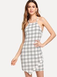 Grid Print Buttoned Keyhole Cami Dress