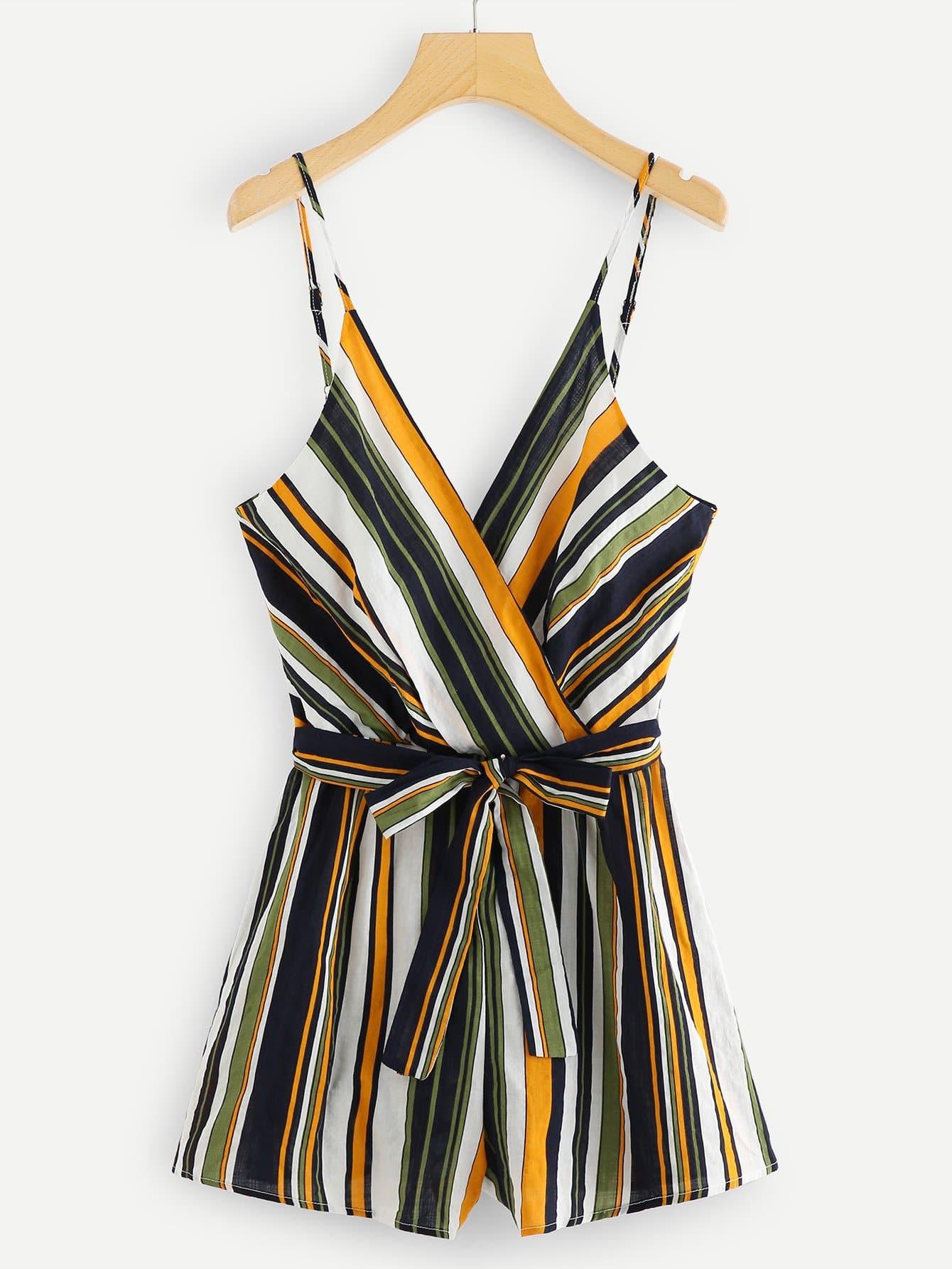 Striped Tie Waist Wrap Cami Jumpsuit tie waist wide leg striped cami jumpsuit