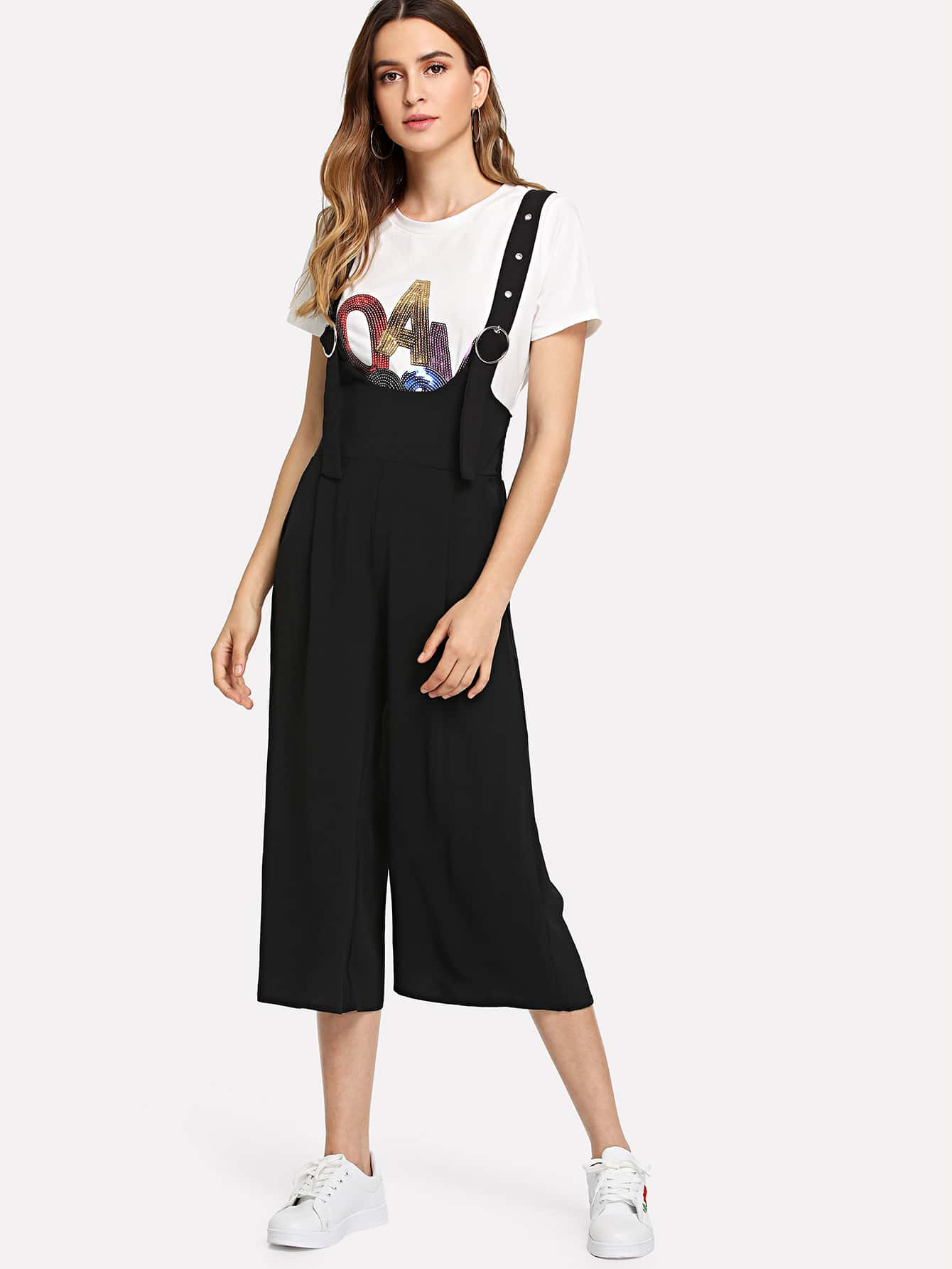 O-Ring Buckle Wide Leg Pinafore Jumpsuit ring detail striped pinafore jumpsuit