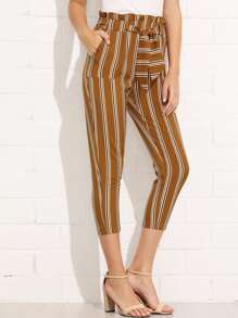 Dual Pocket Striped Belted Pants