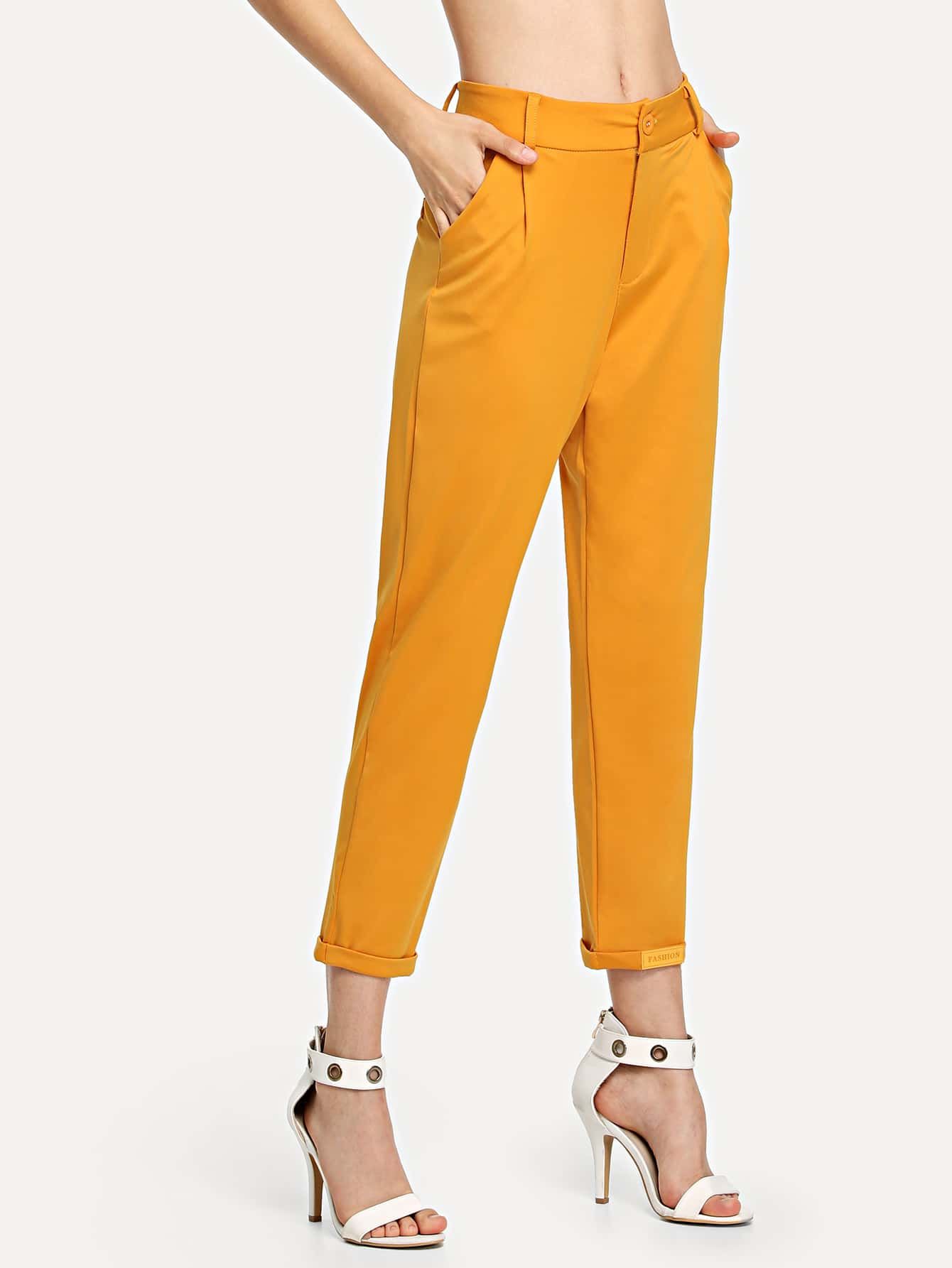 Cuffed Tapered Pants solid cuffed pants