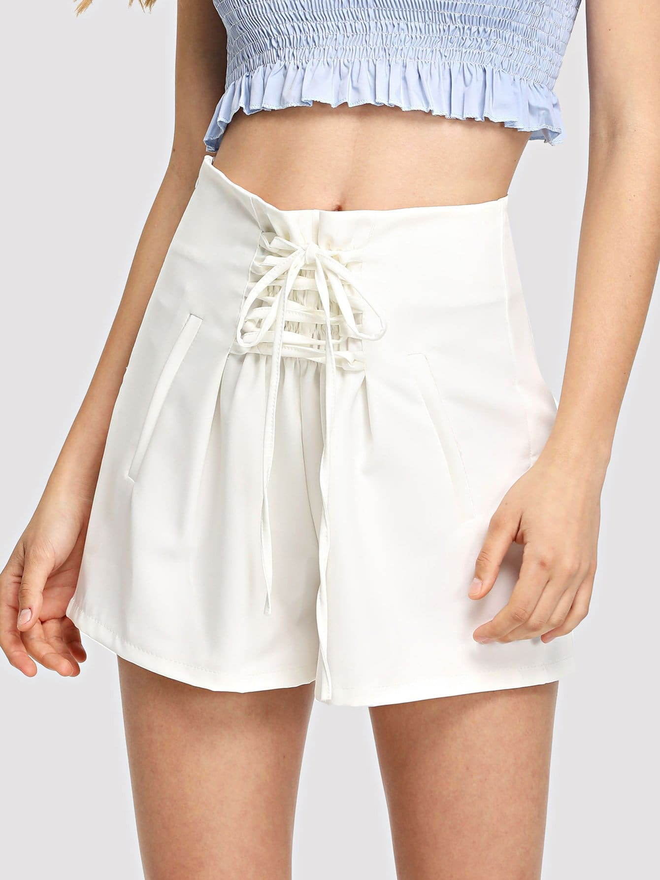 Lace Up Front High Waist Shorts сковорода d 24 см с крышкой frybest skin cm f24ik skin