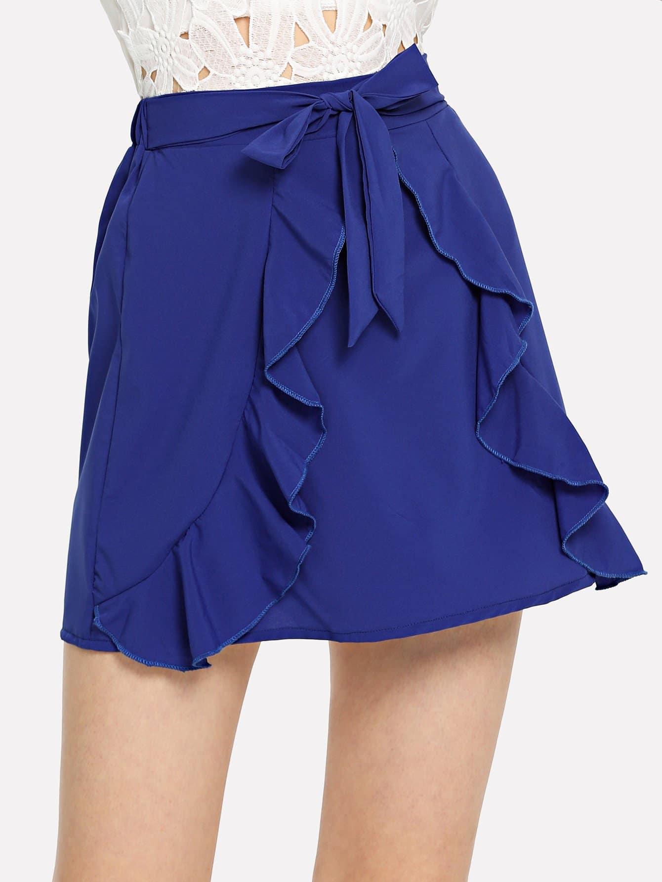 Self Tie Waist Ruffle Skirt self belted ruffle waist pinstripe skirt