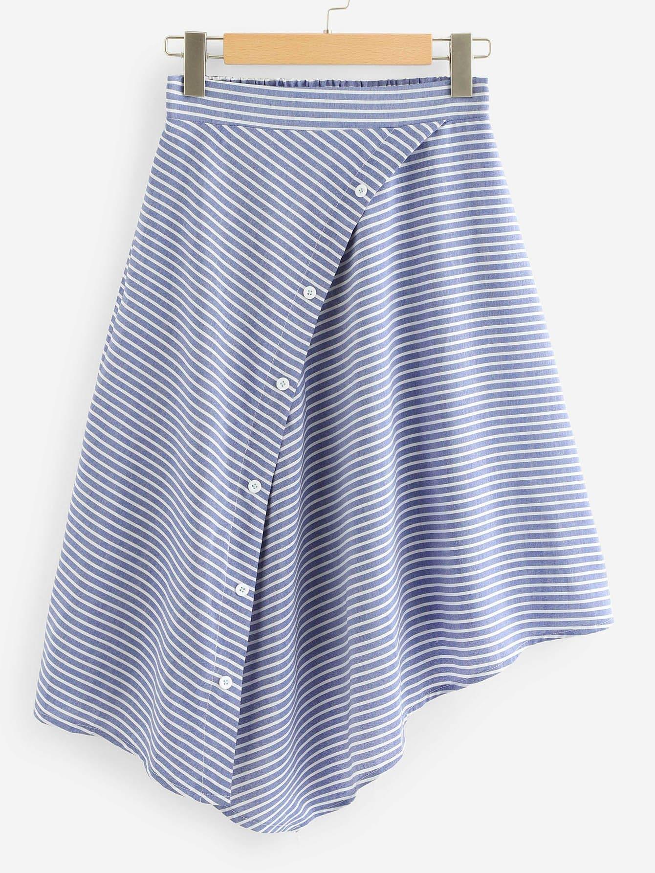 Купить Ассиметричная юбка с пуговицами и полосками, null, SheIn