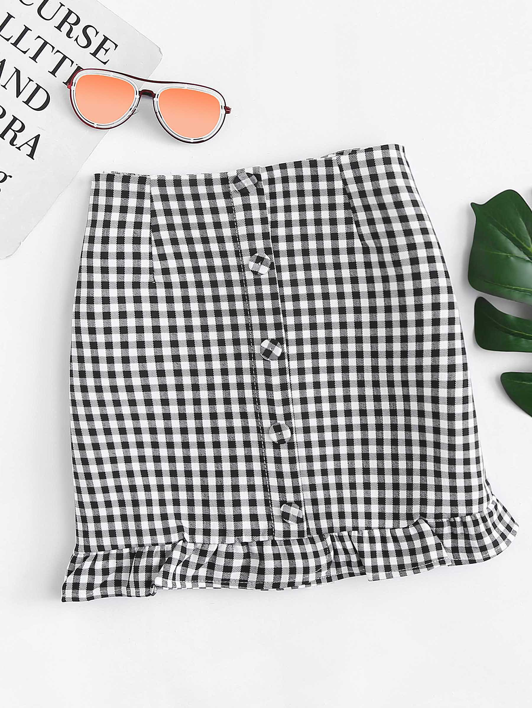 Ruffle Hem Gingham Skirt ruffle hem button detail gingham skirt