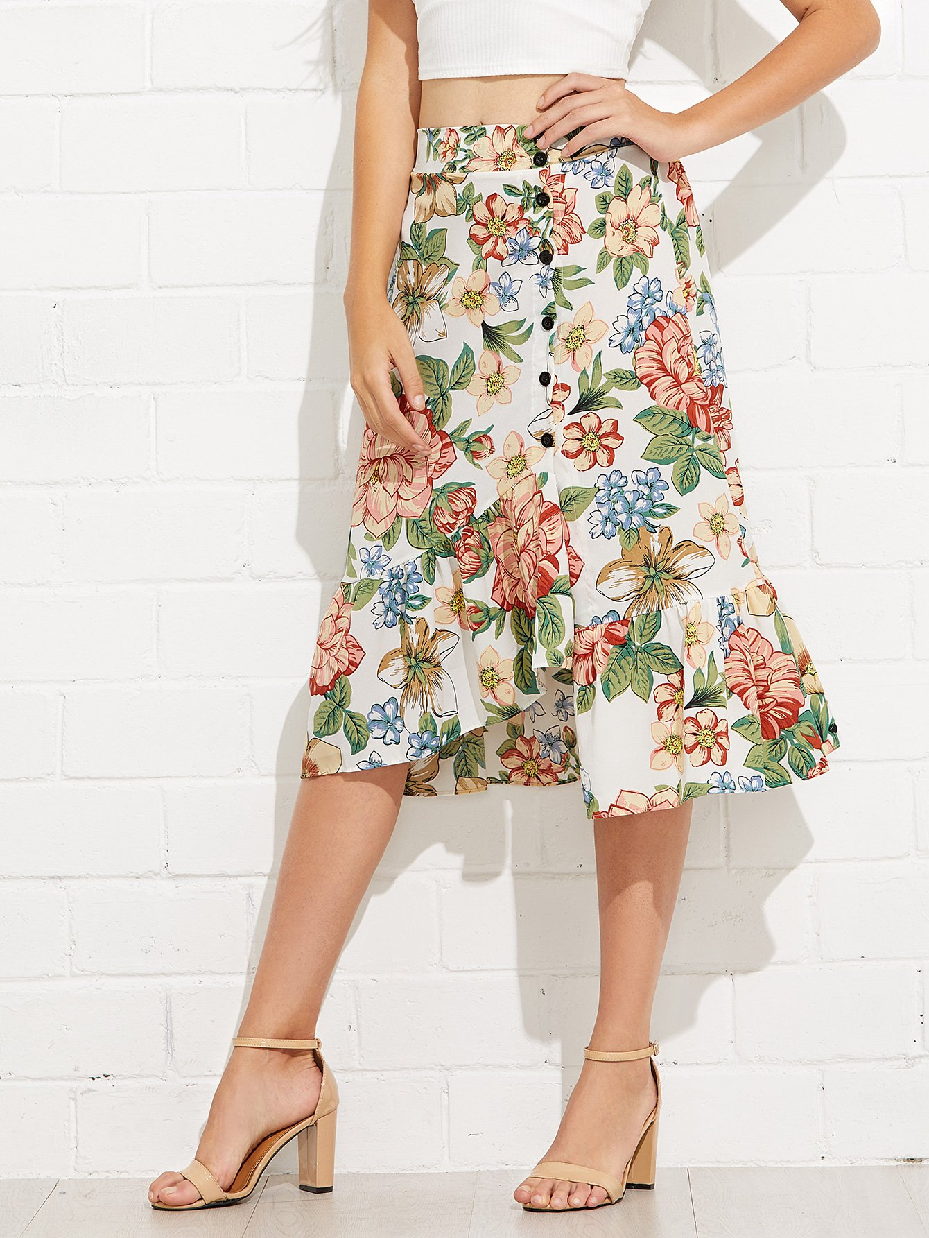 Floral Print Button Detail Ruffle Hem Skirt gold button detail bodycon skirt