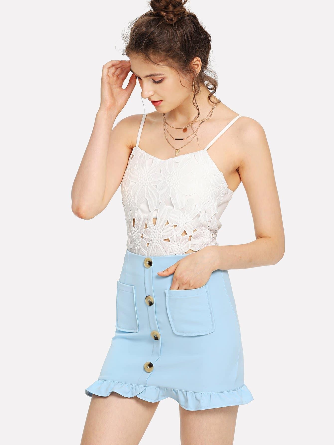 Dual Pocket Button Detail Ruffle Hem Skirt gold button detail bodycon skirt