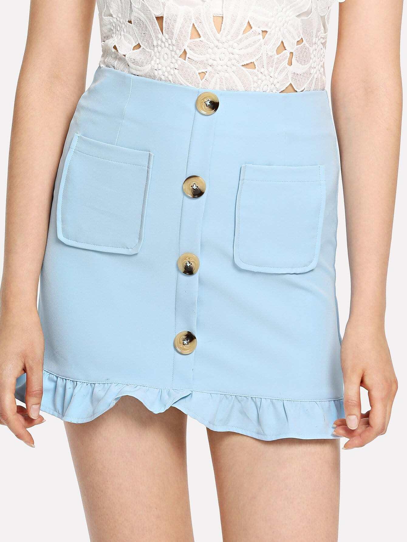 все цены на Dual Pocket Button Detail Ruffle Hem Skirt