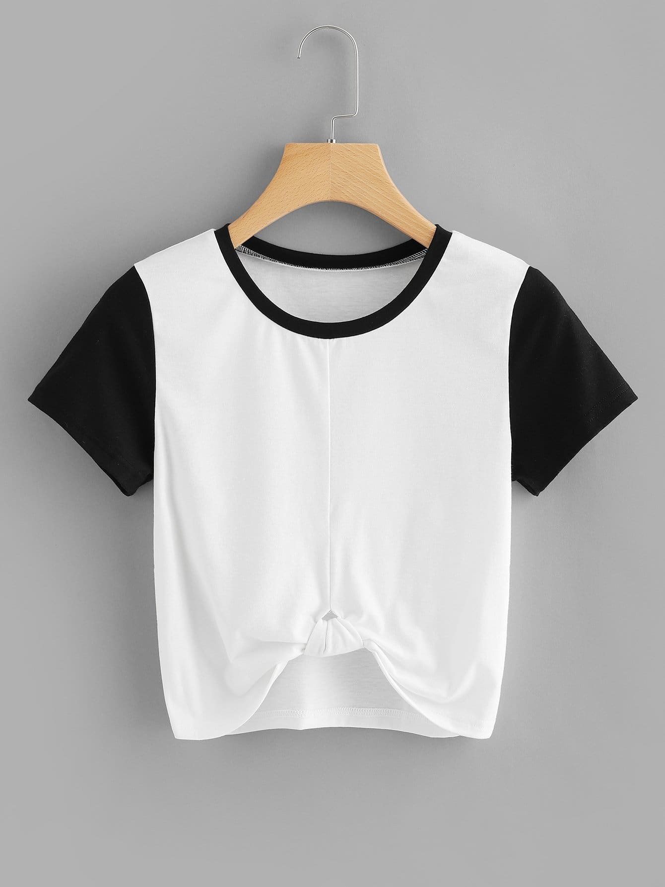 Knot Front Crop Tee hollow lace shoulder knot front tee