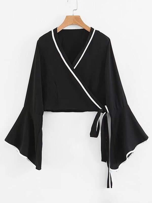 Striped Trim Flounce Sleeve Surplice Blouse drop shoulder flounce trim sleeve sweatshirt
