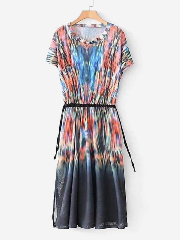 Tie Dye Drawstring Waist Slit Hem Dress drawstring waist m slit tube dress