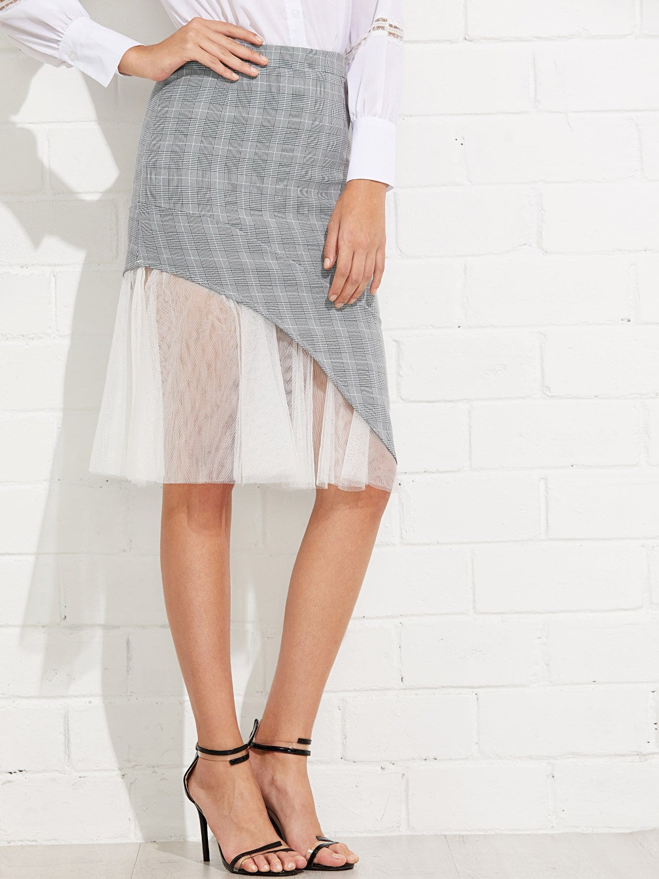 Contrast Mesh Glen Plaid Skirt contrast plaid tee