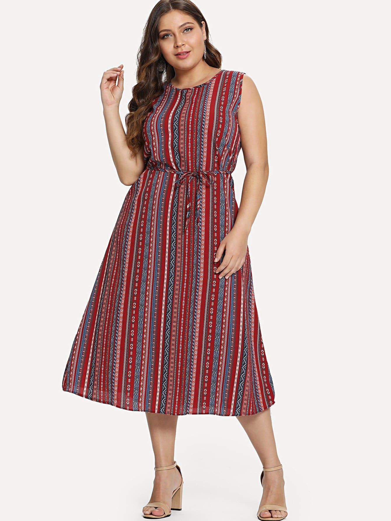 Geo Print Self Tie Dress self tie shoulder shirred bodice geo dress