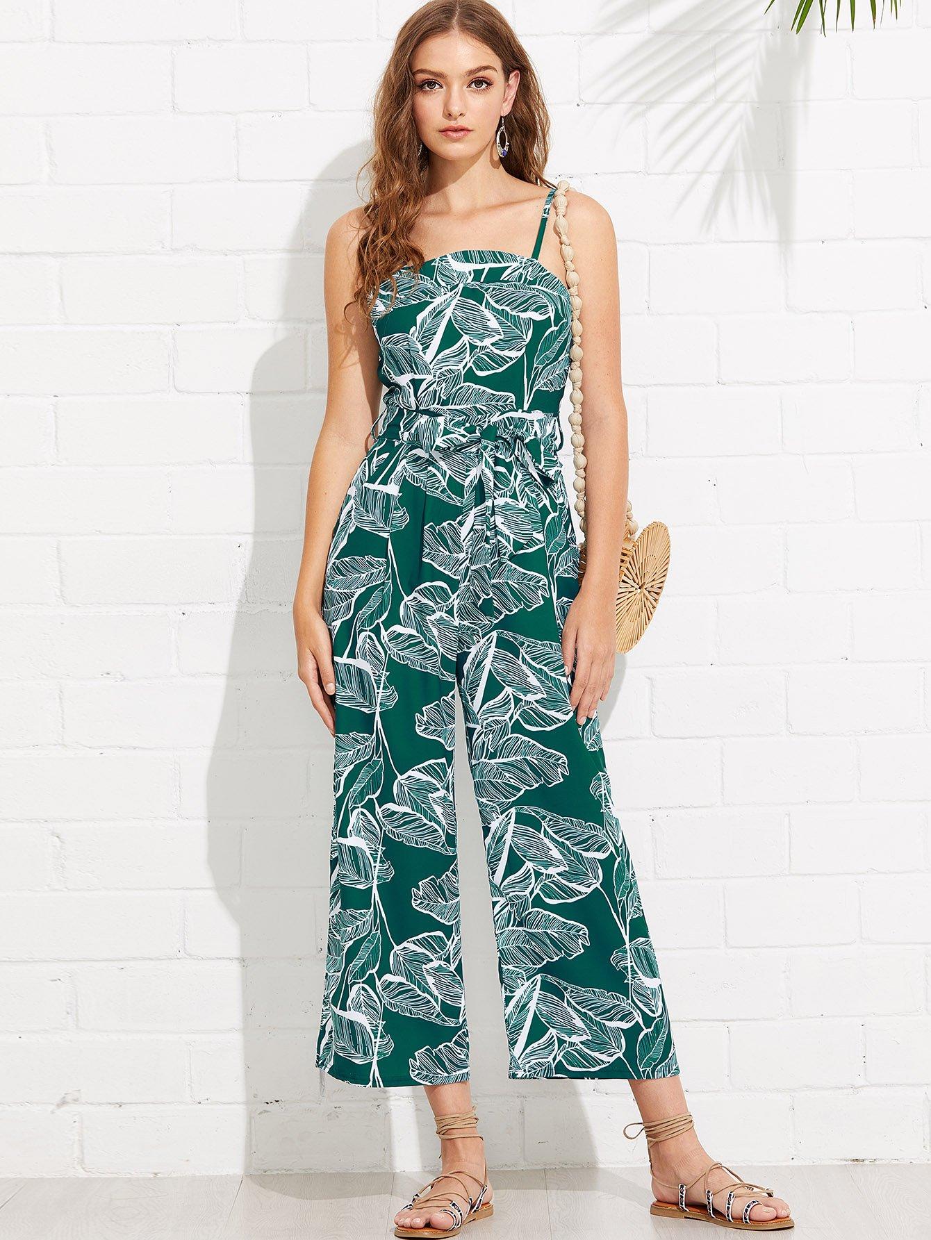 Foliage Print Self Tie Cami Jumpsuit surplice neckline self tie cami jumpsuit