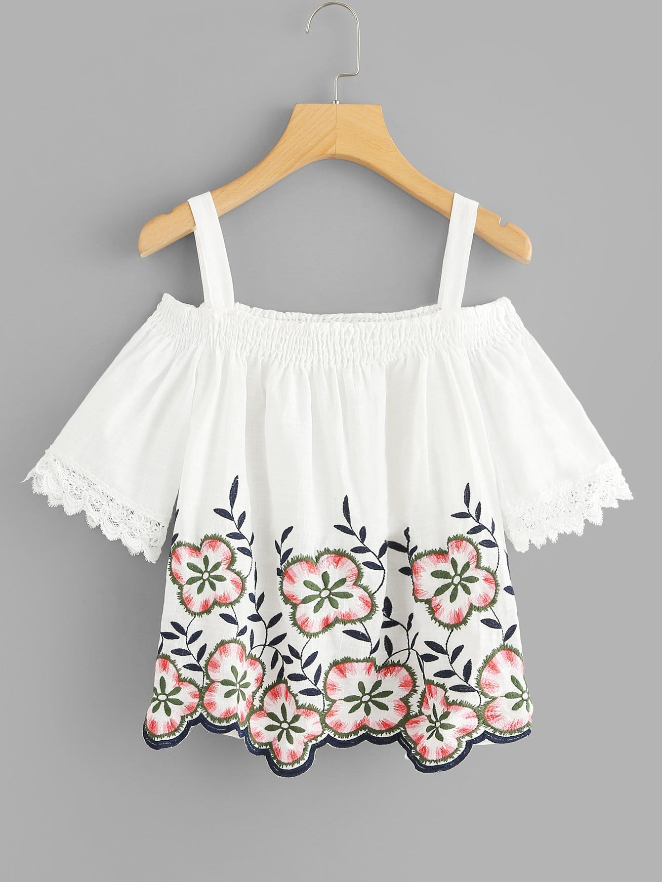 Floral Embroidery Lace Panel Top