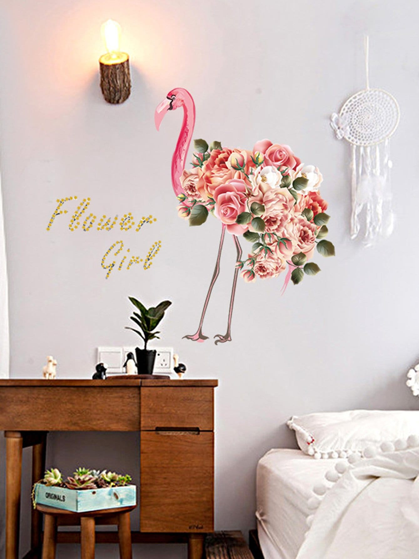 Floral Flamingo Wall Mural family wall quote removable wall stickers home decal art mural
