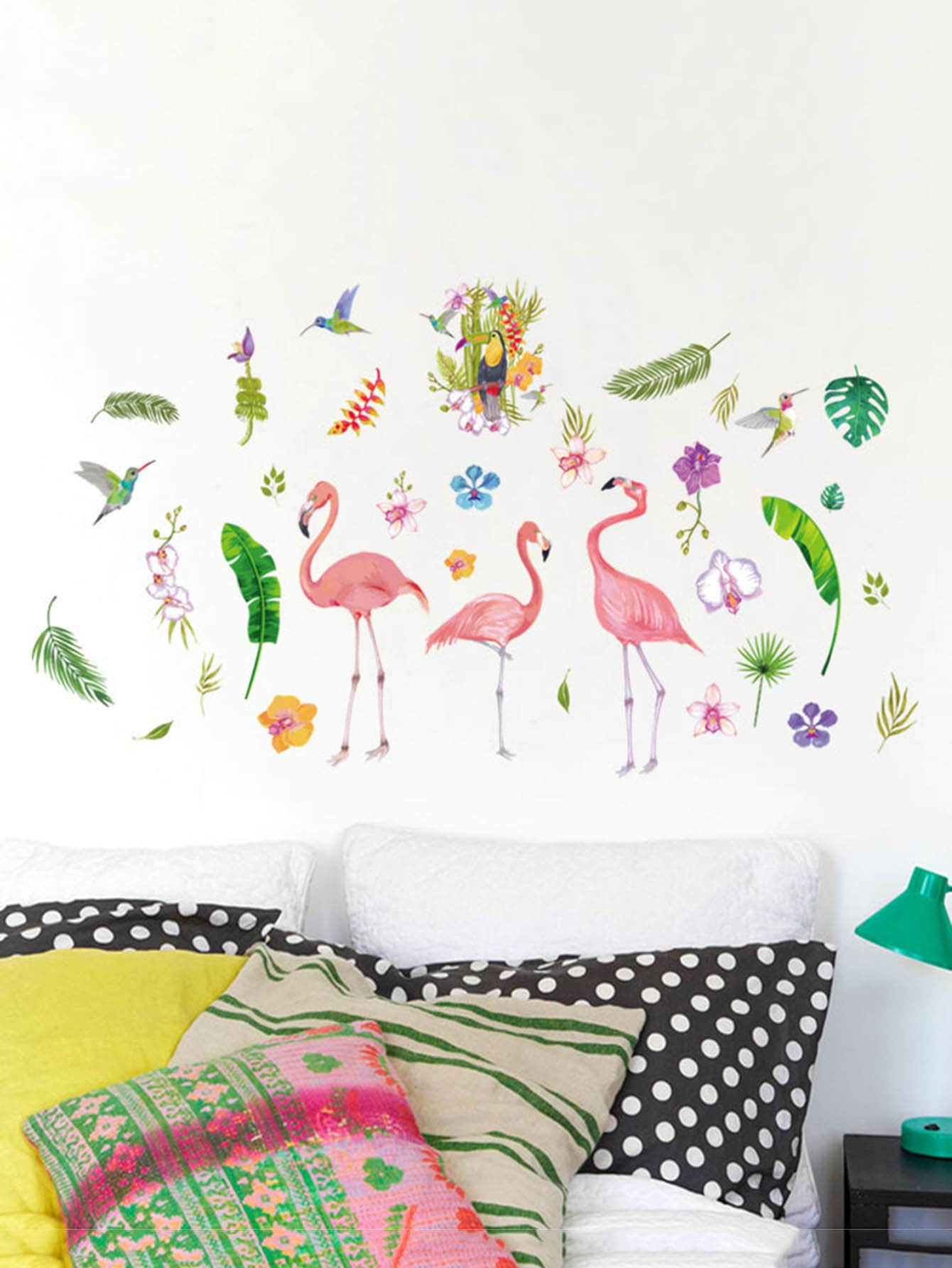 Фото Tropical & Flamingo Wall Decal family wall quote removable wall stickers home decal art mural